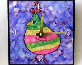 Bird Clock, Pastel Colors, Child's Clock, Bedroom Clock, Whimsical Clock, Functional Art, Whimsical Art, Woodland