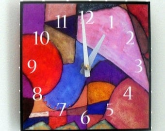 Abstract Geometric Shape Clock, Functional Art, Colorful Clock, Artistic, Triangle, 6 x 6 inches square