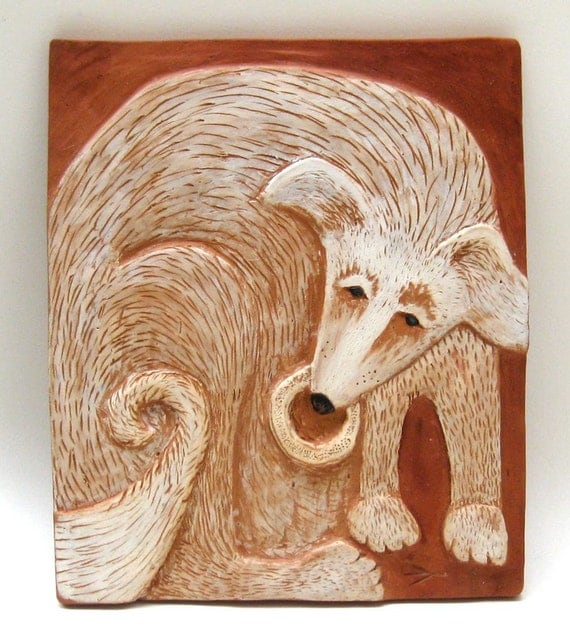 dog with bone handcrafted ceramic tile wall hanging