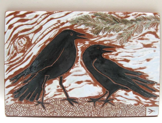 ceramic tile listening crows