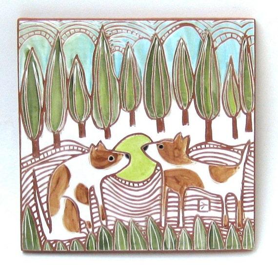 dog twins hand carved ceramic art tile