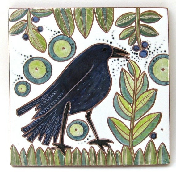 hand carved ceramic art tile blueberry picker
