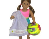 AMERICAN GIRL ACCESSORIES - Personalized Towel & Ball - 4 Colors to Choose From