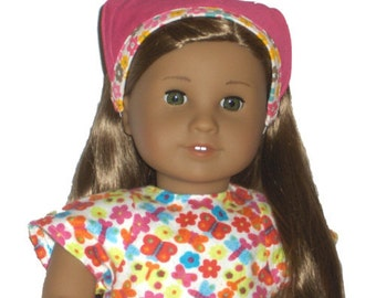 """Pink Bandana - Made to Fit American Girl / 18"""" Doll - Doll Clothes - Bright Pink, Cloud White"""