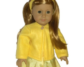 """Yellow Coat - Made to Fit American Girl / 18"""" Doll - Doll Clothes - Maize"""