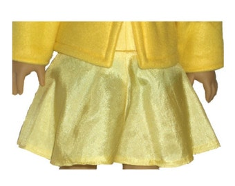 """Yellow Dress Skirt - Made to Fit American Girl / 18"""" Doll - Doll Clothes - Maize"""
