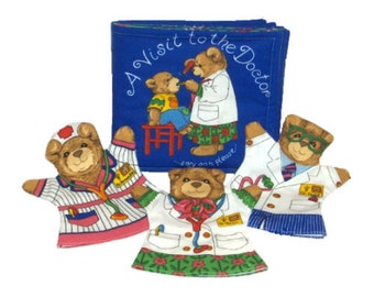 DOCTOR BOOK & PUPPETS - Cloth / Soft Book w/ 3 Bear Puppets - Take the Fear Out of Doctor Visits