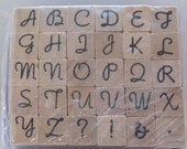 ALPHABET Stamp Set - uppercase - Wood Mounted Rubber Stamps - style 1