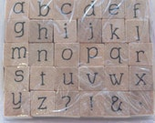 ALPHABET Stamp Set - lowercase - Wood Mounted Rubber Stamps - style 4