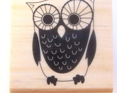 OWL - Wood Mounted Rubber Stamp