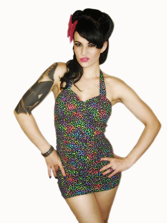 JOSIE Retro Rainbow Leopard Swimsuit Size MED Ready To Ship
