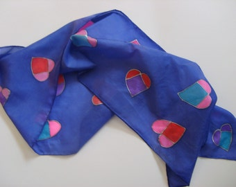 Stained Glass Hearts Silk Scarf