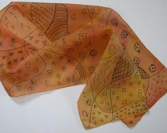 Black/Tan Doodle Silk Scarf