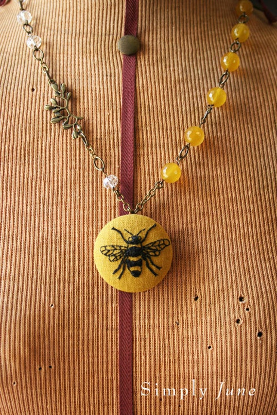 Hand Embroidered Antiqued Brass Pendant Locket Necklace - Bee Illustration