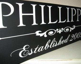 Custom Wood Sign, Family Name Sign, Established Date, Flourish Design, no vinyl lettering used