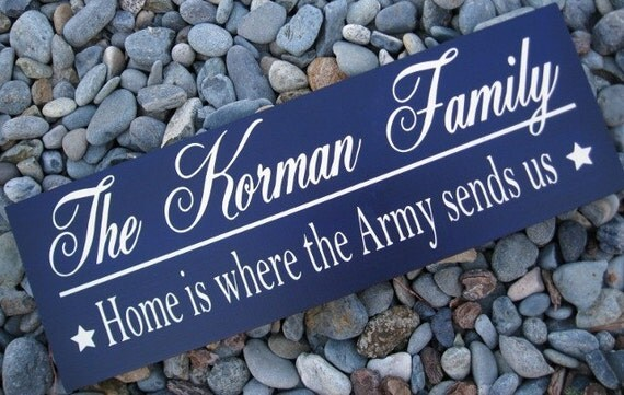 Custom Wood Sign Family Name Sign Military Sign Home is where the army sends us home is where the air force sends us, marines send us