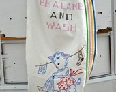 Retro Vintage Inspired Embroidered Laundry Bag Be A Lamb and Wash