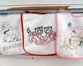 Boutique All Cotton Vintage Inspired Embroidered 3 piece Baby Bib Baby Shower, New Baby, Birthday Gift Set Vintage Lamb, kitten, chicks Breakfast, Lunch, Dinner