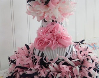 Custom Boutique Pink Zebra Cupcake Birthday Party Hat with bling sprinkles