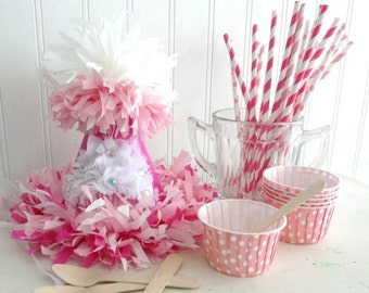 The Maria Glitter Cupcake Birthday Party Hat Package/Kit includes pink paper straws & cupcake/baking/favor cups