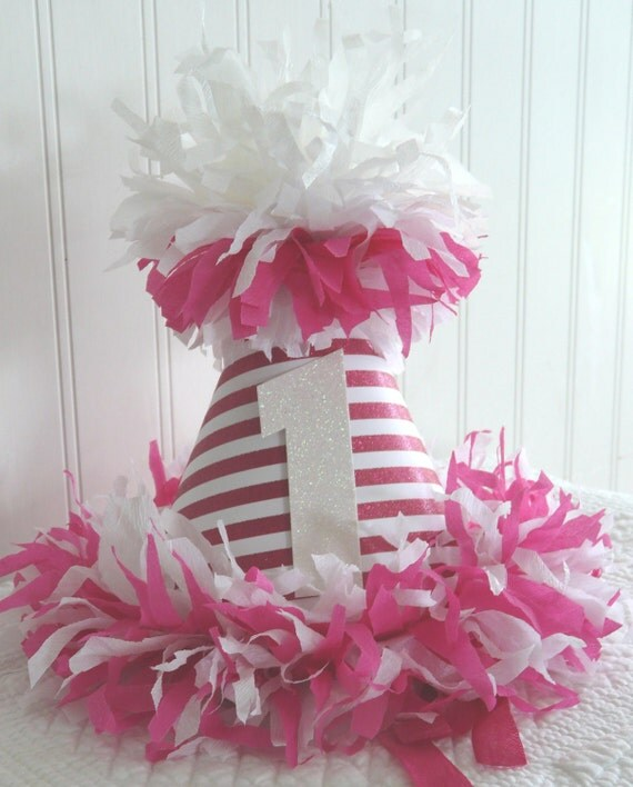 The Stephanie Stripes Hot Pink Stripes Happy Birthday Party Hat with glitter one