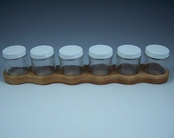 Cherry Wood Watercolor or Acrylic Paint Holders with Six 4 oz Glass Jars and Metal Lids