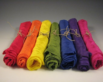 Playsilks - 35x35 inch Traditional Rainbow set of 7 colors - Waldorf Inspired