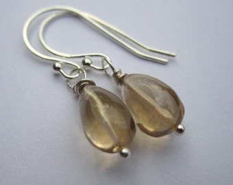 Clearance - Lovely Citrine Smooth Briolette, Sterling Silver Drop Earrings - Holiday Deals, Stocking Stuffer, November Birthstone