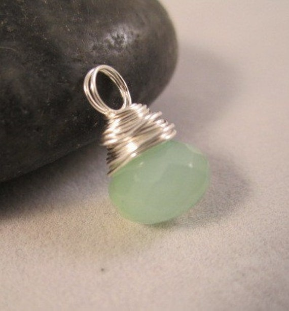 PENDANT ONLY, Superb Faceted Aqua Chalcedony Onion Briolette Wire Wrapped in Sterling Silver