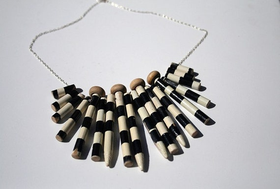 Knitting Needle Gauge Necklace : Black and white stripe knitting needle necklace by tikimau