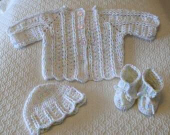 Crochet Baby Girl Sweater Set 0-3 months