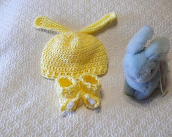 Crochet Baby Bunny Ear Hat and Bootie Set - Yellow