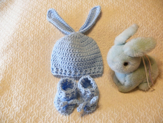 Crochet Baby Bunny Ear Hat and Bootie Set - Light Blue