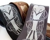 Owl Men's Necktie - Thorns of Wisdom Tie for Men in Black, Brown or Charcoal Gray - Gift Ideas for Him