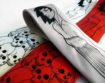 Skull Men's Necktie, Gothic Clothing, Grim Reaper, Goth Accessories - Death Wore A Sundress Tie