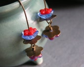 Earrings, Flower, Lilly Pad, Red, Blue, Brass (Reflections Of The Way Life Used To Be)