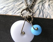 Necklace, Brass, Blue, White, Circle, Reinventing the Wheel