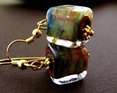 Petite lampwork cube earrings in 14k gold fill