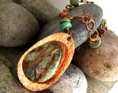Stunning copper necklace with African Opal and Kingman Turquoise