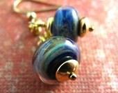 Blue boro lampwork earrings in gold