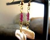 Honeysuckle pink garnet and peachy baroque pearl earrings in gold