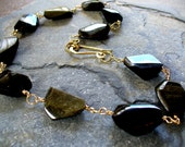 BELOW COST -  SALE - Arabian Nights - 14k gold filled necklace with Golden Black Obsidian