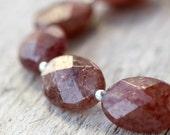 Blood orange Bracelet -gemstones and silver