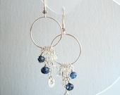 Venetian Blue Hoop Earrings