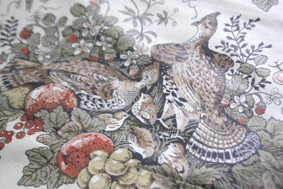 Pheasant Vintage Fabric 3 yards RESERVED