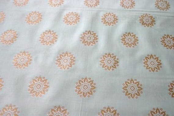 "Vintage Rosette Fabric One Yard Plus 30"" LAST piece"