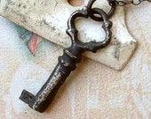 Key Necklace - Black - Sterling Silver - Skeleton Key - Cottage Chic - Rustic - Oxidized - Steampunk - Key Charm - Skeleton Key Necklace