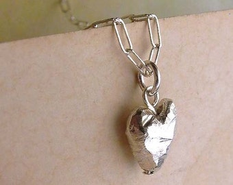 Heart Necklace - Sterling Silver - Heart Drop - Beveled - Asymmetrical - Sparkly - Heart Jewelry - Heart Drop Necklace - Made In Brooklyn