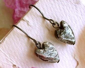 Heart Earrings - Black - Sterling Silver - Oxidized - Rustic - Cottage Chic - Beveled - Hipster - Heart Drop Earrings