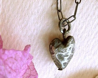 Heart Necklace - Black - Sterling Silver - Oxidized - Rustic - Beveled - Cottage Chic - Hipster - Heart Drop Necklace - Heart Pendant